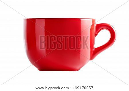 Big red mug in front view. Red cup for tea juice or soup. Red cup isolated on white background with clipping path.