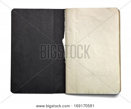 Blank open note book with black title page isolated on white background. Front view. Paper texture. Clipping path. Mock up.