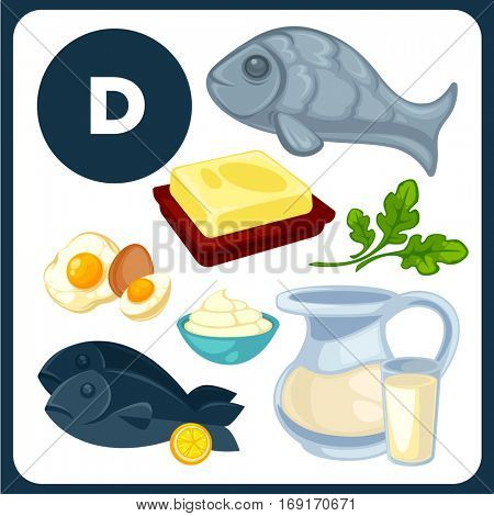 Set with illustrations of food with vitamin D. Ingredients for health: egg, fish, butter, cream, milk. Healthy nutrition, diet with D sources. Vector icons in cartoon design, isolated on white