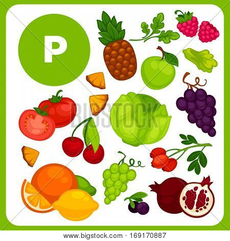 Set with illustrations of food with vitamin P. Ingredients for health: apple, berries, cabbage, cherries, greens, lemon, orange, tomato. Diet with product flavonoids sources. Vector cartoon icons
