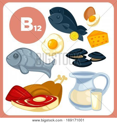 Set with illustrations of food with vitamin B12. Ingredients for health: milk, egg and cheese, fish, liver, beef and chicken, tuna. Healthy nutrition, diet with B 12 sources. Vector cartoon icons