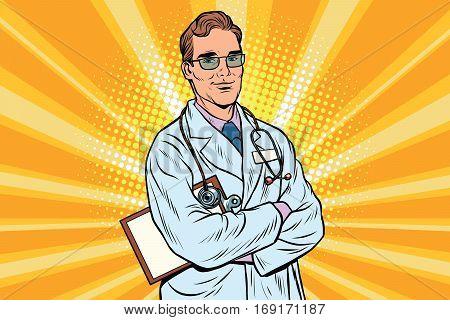 Doctor therapist confident smiles. Vintage pop art retro vector illustration. Medicine and health. Profession to treat people