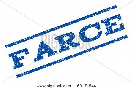 Farce watermark stamp. Text caption between parallel lines with grunge design style. Rotated rubber seal stamp with dust texture. Vector blue ink imprint on a white background.
