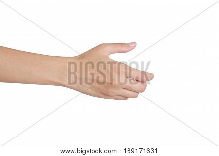 Woman's hands giving her hand for handshake back side isolated on white background.