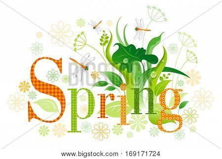 Sunny Spring text lettering floral background. Beautiful nature, floral swirls, leafs, green grass, flower, orange dragonfly, isolated on white background. Horizontal garden vector illustration