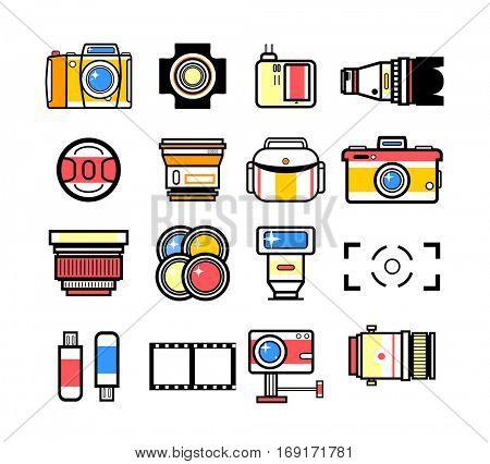 Photographer equipment kit set, camera elements vector background