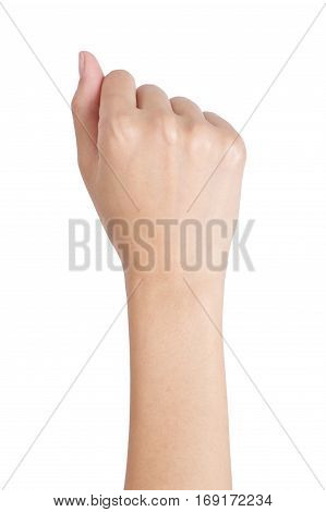 Woman's hand with fist gesture back side Isolated on white background.