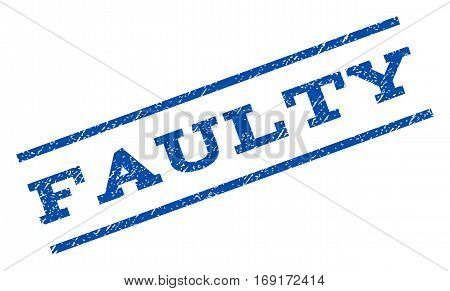 Faulty watermark stamp. Text caption between parallel lines with grunge design style. Rotated rubber seal stamp with dust texture. Vector blue ink imprint on a white background.