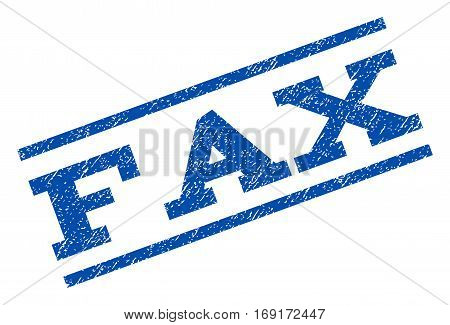 Fax watermark stamp. Text caption between parallel lines with grunge design style. Rotated rubber seal stamp with dirty texture. Vector blue ink imprint on a white background.