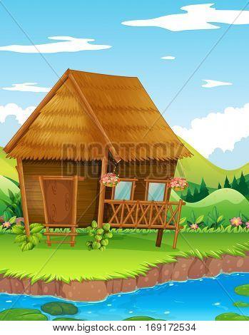 Wood cabin along the river illustration