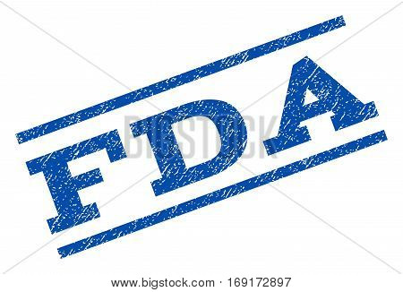 FDA watermark stamp. Text caption between parallel lines with grunge design style. Rotated rubber seal stamp with scratched texture. Vector blue ink imprint on a white background.