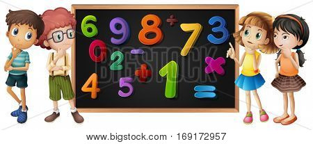 Children with numbers on blackboard illustration