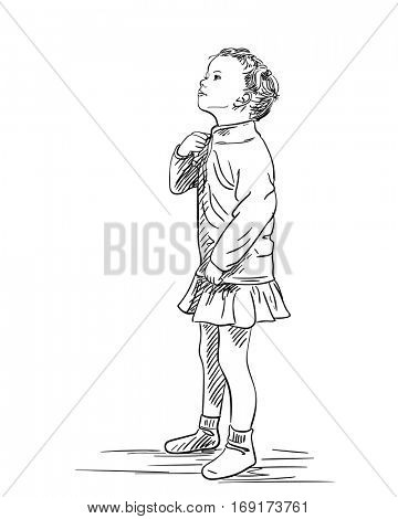 Small girl zipping her blouse and raised her head upwards, Hand drawn illustration isolated, Vector sketch