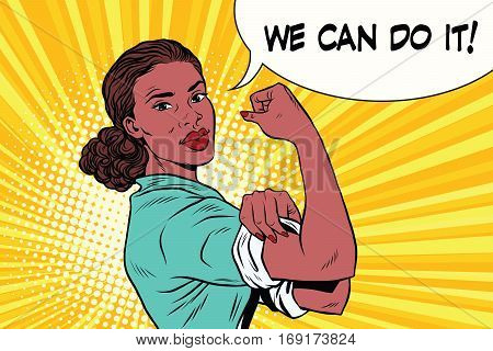 we can do it black woman feminism and protest. Vintage pop art retro vector illustration. Human rights, political activism