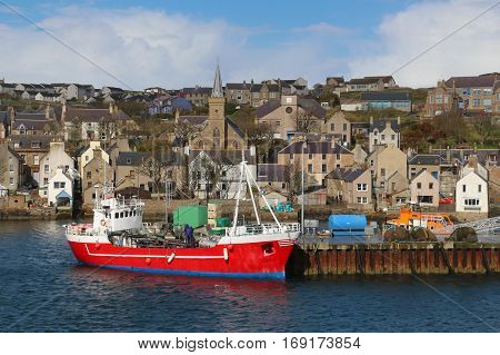 Hamnavoe Harbor and full town view at Stomness, Orkney Island, Scotland, UK