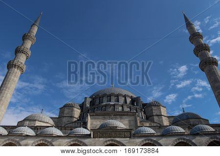 Suleymaniye Mosque, Istanbul, Turkey with minarets and copy space, angled frontal view