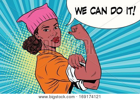political activist black woman we can do it. Pink pussy cat hat. Vintage pop art retro vector illustration