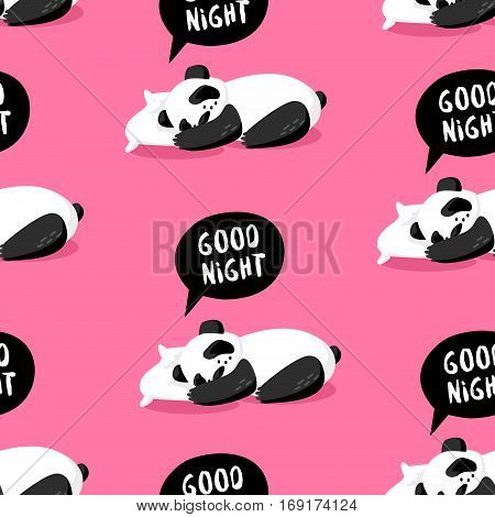 Seamless pattern with panda sleeping on a pillow. Good night. Cover for wrapping and textile. Vector background.