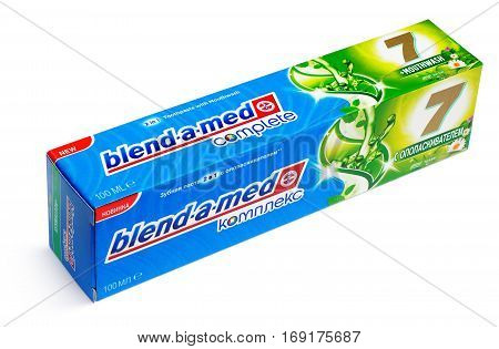 MOSCOW RUSSIA - FEBRUARY 5 2017: Top view of blend-a-med comlete toothpaste in box - toothpaste with mouthwash box isolated on white with clipping path. blend-a-med (Crest)owned by Procter & Gamble