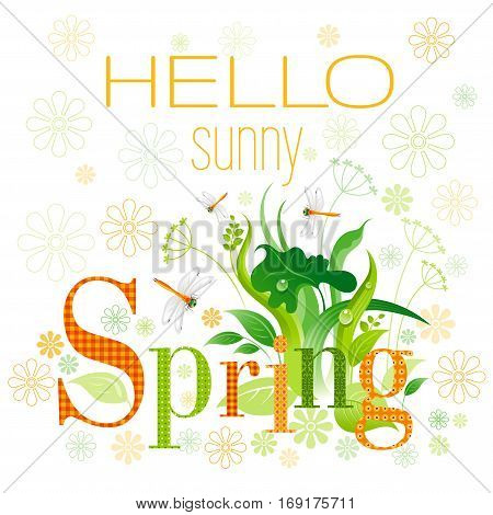 Hello sunny Spring text lettering floral background. Beautiful nature, floral swirls, leafs, green grass, flower, orange dragonfly, isolated on white background. Square garden vector illustration