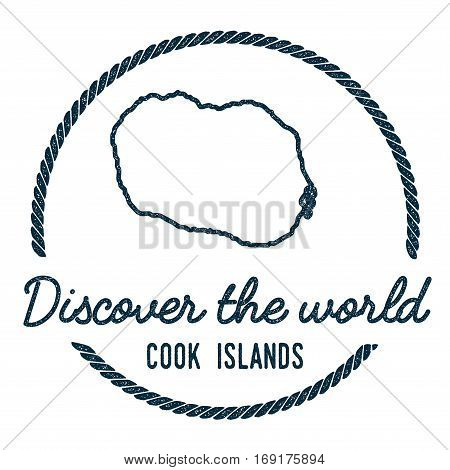 Cook Islands Map Outline. Vintage Discover The World Rubber Stamp With Island Map. Hipster Style Nau