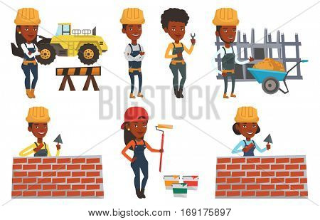 African-american bicklayer working with spatula and brick. Young confident bricklayer in uniform and hard hat. Bricklayer at work. Set of vector flat design illustrations isolated on white background.
