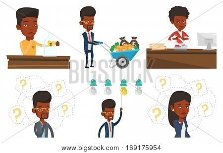 African business woman thinking. Thinking business woman standing under question marks. Thinking man surrounded by question marks. Set of vector flat design illustrations isolated on white background.