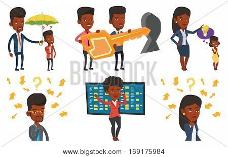 Businessman talking on mobile phone on the background of display of stock market quotes. Happy stockbroker at stock exchange. Set of vector flat design illustrations isolated on white background.