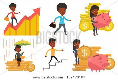 African businessman insurance agent. Insurance agent holding umbrella over gold coins. Business insurance and protection concept. Set of vector flat design illustrations isolated on white background.