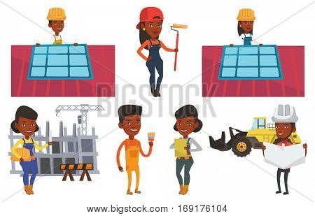 Technician installing solar panels on roof. Technician in hard hat checking solar panel on roof. Technician adjusting solar panel. Set of vector flat design illustrations isolated on white background.
