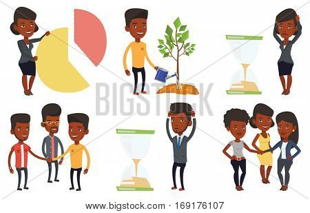 Businessman looking at hourglass symbolizing deadline. Man worrying about deadline terms. Time management and deadline concept. Set of vector flat design illustrations isolated on white background.