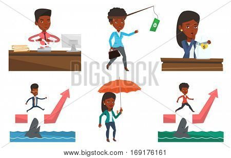 African-american annoyed business man sitting in office and tearing furiously bills. Young angry business man calculating bills. Set of vector flat design illustrations isolated on white background.
