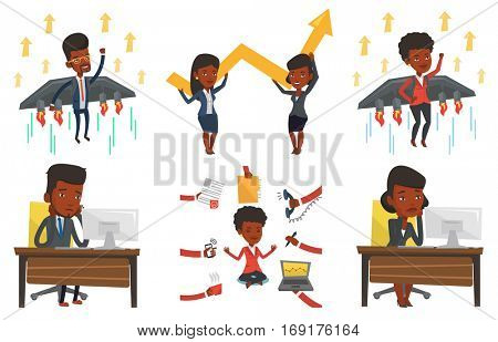 African exhausted employee sitting at workplace in front of computer. Overworked tired employee working with head propped on hand. Set of vector flat design illustrations isolated on white background.