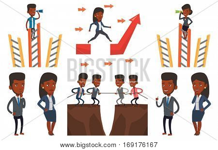 Businessman searching for opportunities. Businessman using spyglass for searching of opportunities. Business opportunities concept. Set of vector flat design illustrations isolated on white background