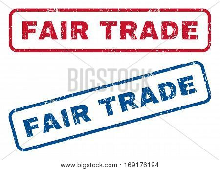 Fair Trade text rubber seal stamp watermarks. Vector style is blue and red ink caption inside rounded rectangular banner. Grunge design and unclean texture. Blue and red emblems.