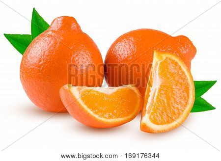 two orange tangerine or Mineola with a slices and leaf isolated on white background.