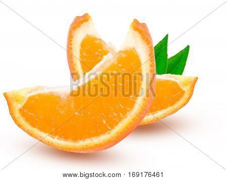 Two slices of orange tangerine or Mineola with leaf isolated on white background.