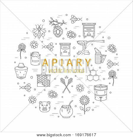 Vector apiary line icons made in circle. Apiary vector symbols. Bee honey bee house honeycomb dipper behive flowers wax Honey natural healthy food production