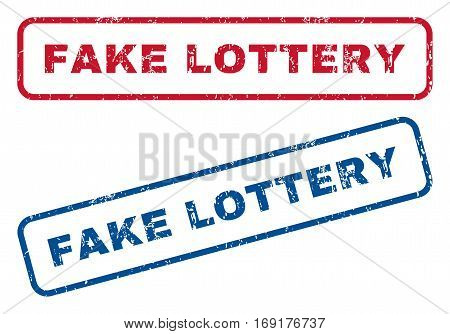 Fake Lottery text rubber seal stamp watermarks. Vector style is blue and red ink caption inside rounded rectangular banner. Grunge design and dust texture. Blue and red signs.