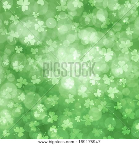 St Patricks day background with bokeh and clover