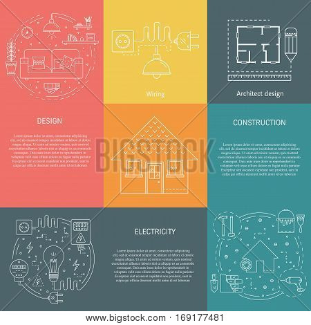 Vector set of templates with house repair - construction electricity wiring interior design architecture building and repairing home. Objects made in thin line style. Banner and flyer collection.