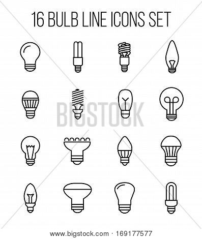 Set of light bulb icons in modern thin line style. High quality black outline bulb symbols for web site design and mobile apps. Simple light bulb pictograms on a white background.