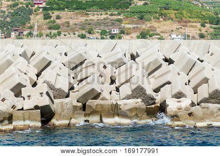 Dam is of concrete blocks in Alanya Turkey