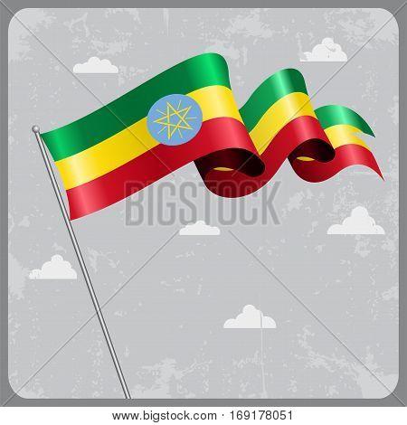 Ethiopian flag wavy abstract background. Vector illustration.