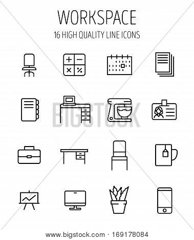 Set of workspace icons in modern thin line style. High quality black outline office symbols for web site design and mobile apps. Simple workspace pictograms on a white background.