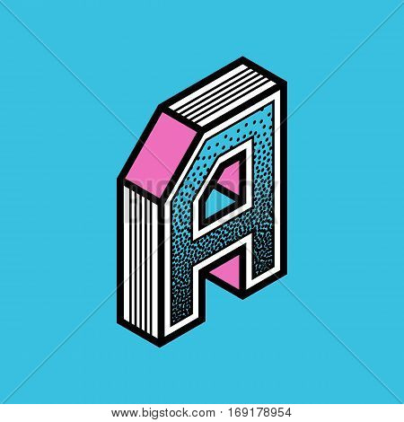 Retro style letter A icon. Cyan and magenta colour. Element for poster, banner or web design. Vector illustration art.