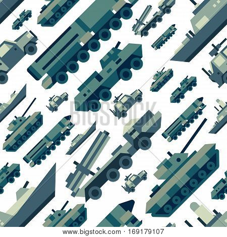 Seamless pattern of military machines. Set of army force technics include tank, truck, marine destroyer, armored troop carrier. Modern flat illustration art.