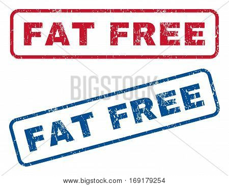 Fat Free text rubber seal stamp watermarks. Vector style is blue and red ink caption inside rounded rectangular shape. Grunge design and dirty texture. Blue and red emblems.