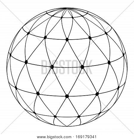 globe with a radial pattern of triangles and dots at the intersection of lines, vector concept of communications traffic. The symbol of a uniform coverage of the planet earth information sources.