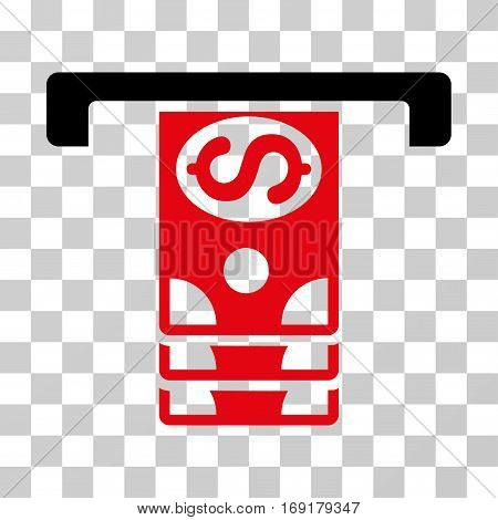 Banknotes Withdraw icon. Vector illustration style is flat iconic bicolor symbol intensive red and black colors transparent background. Designed for web and software interfaces.